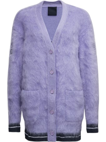 Givenchy Lilac Mohair Blend Cardigan With Logo