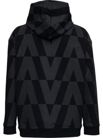 Valentino Black Cotton Hoodie With Macro Optical Print
