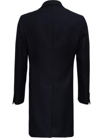 Tagliatore Basic Single-breasted Blue Wool Coat