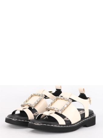 Roger Vivier Viv 'rangers Sandals With Rhinestone Buckle Cream