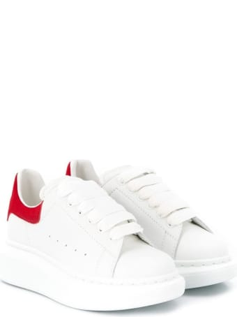 Alexander McQueen White Leather Oversize Sneakers With Red Heel Tab