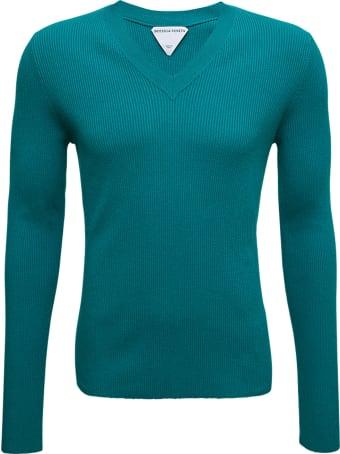 Bottega Veneta Long Sleeved Petrol Colored Ribbed Shirt