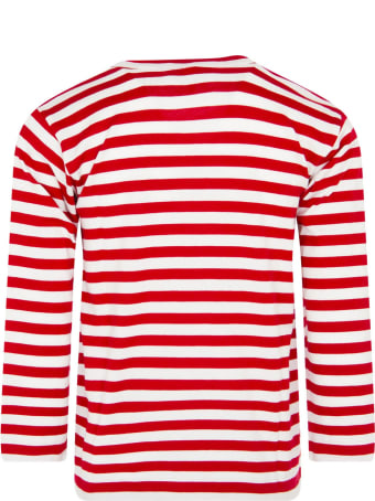 Comme des Garçons Play White And Red Striped T-shirt With Heart For Kids