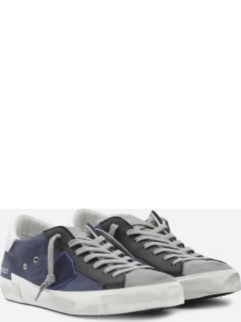 Philippe Model Paris X Sneakers In Leather With Contrasting Inserts