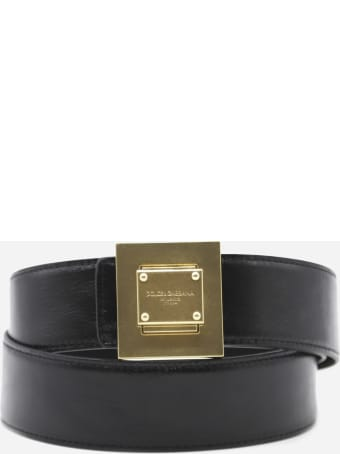 Dolce & Gabbana Leather Belt With Contrasting Logo Detail