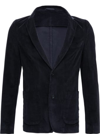 Officine Générale Single-breasted Blue Wool Jacket