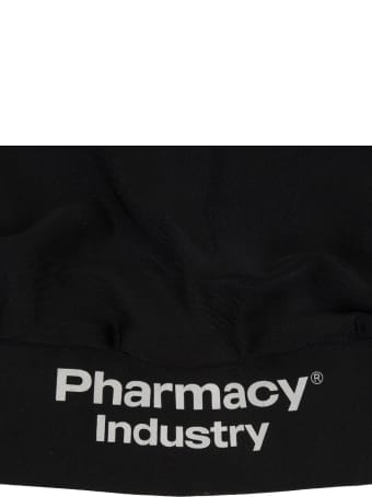 Pharmacy Industry Black Sports Crop Top With Logo