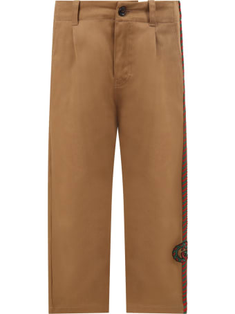 Gucci Beige Pants For Boy With Double Gg