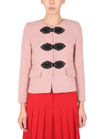 Boutique Moschino Bouclè Jacket With Frogs