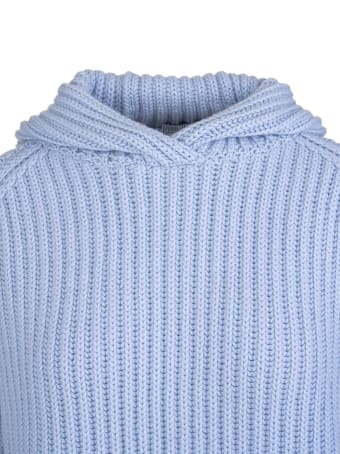 Fedeli Woman Hooded Sweater In Light Blue Ribbed Cashmere
