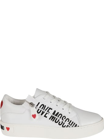Love Moschino Side Zipped Logo Print Sneakers
