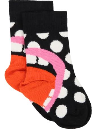 Happy Socks Black Socks For Kids With Polka-dots