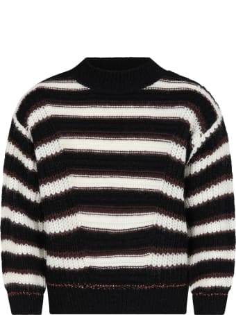 Catimini Black Sweater For Girl With Stripes