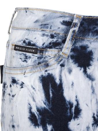 Philipp Plein Woman Bleached Denim Shorts