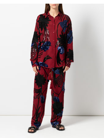 Christian Pellizzari Dark Red Viscose Embroidery Shirt