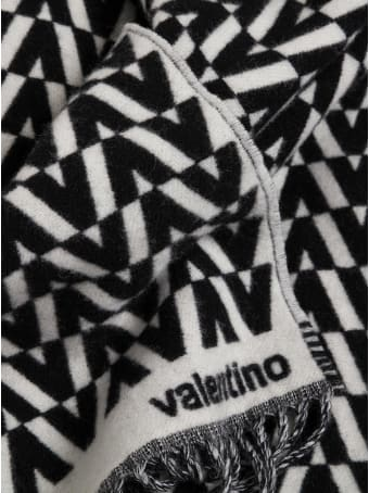 Valentino Garavani Wool And Cashmere Blend Scarf With Optical Print