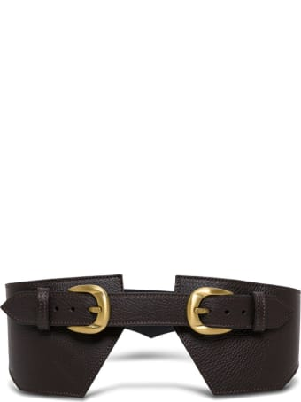 Federica Tosi Brown Leather Belt With Double Buckle