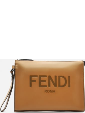 Fendi Flat Leather Pouch With Logo Lettering