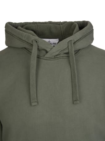 Stone Island Man Military Green Hoodie With Logo Patch