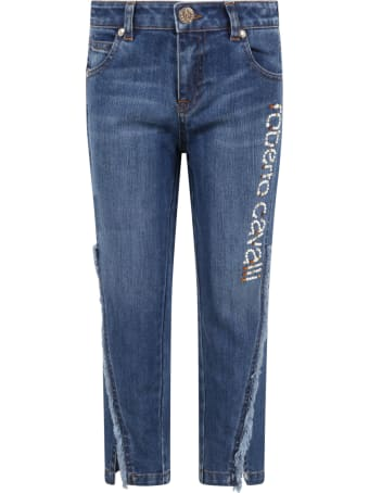 Roberto Cavalli Light Blue Jeans For Girl With Logo