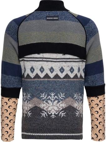 Marine Serre Wool Blend Layered Turtleneck Sweater