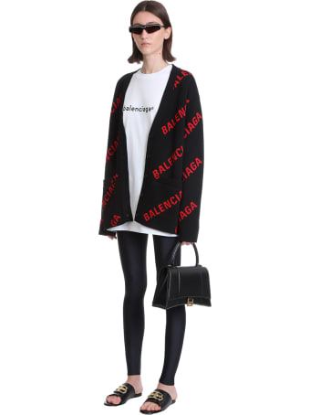 Balenciaga Hourg Top Hand Hand Bag In Black Leather