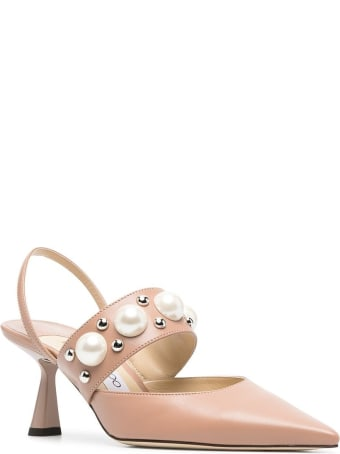 Jimmy Choo Breslin Pumps  In Pink Leather With Pearls Inserts