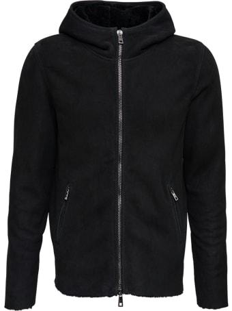 Giorgio Brato Black Leather Hooded Jacket