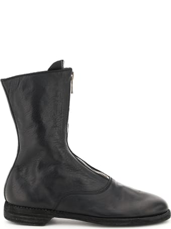 Guidi Front Zip Leather Ankle Boots