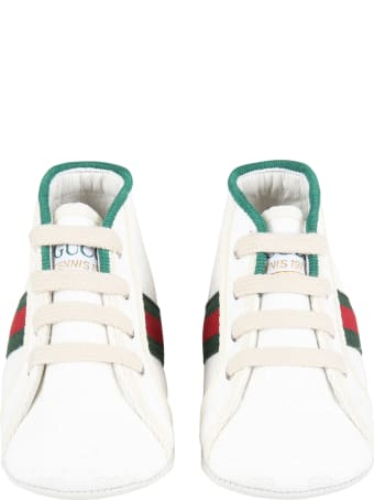 Gucci White Sneakers For Baby Kids With Double Gg