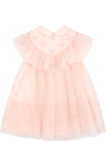 Fendi Pink Dress For Baby Girl With Embroidered Logo