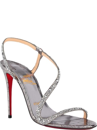 Christian Louboutin Silver Leather Rosalie Strass 100 Sandals With Swarovski