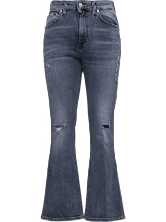 Mauro Grifoni Grey Denim Jeans With Flared Bottom
