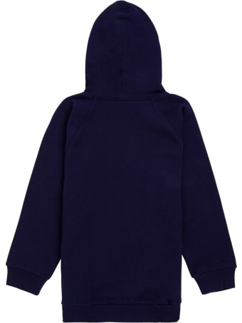 Gucci Blue Cotton Hoodie With Logo Print