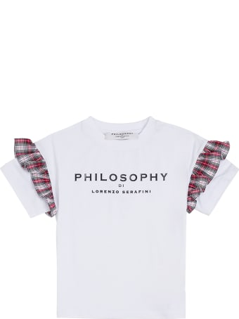 Philosophy di Lorenzo Serafini Kids Cotton T-shirt With Logo And Ruffles Detail