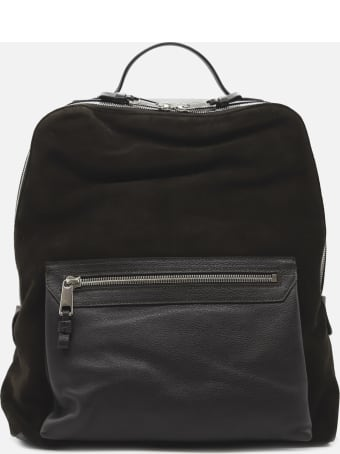 Eleventy Backpack Made Of Leather With Contrasting Inserts