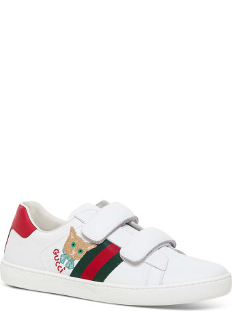 Gucci New Ace Leather Sneakers With Cat Patch Detail