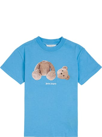 Palm Angels Blue Cotton T-shirt With Teddy Bear Print