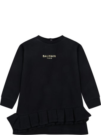 Balmain Black Dress For Baby Girl With Logo