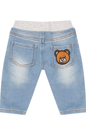 Moschino Light Blue Jeans For Babykids With Teddy Bear