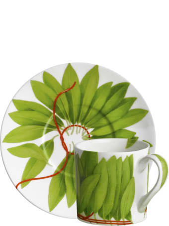 Taitù Set of 2 Espresso Cups & Saucers - Fil Rouge Foglie Collection