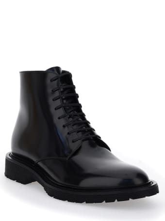 Saint Laurent Laced Boots In Smooth Leather