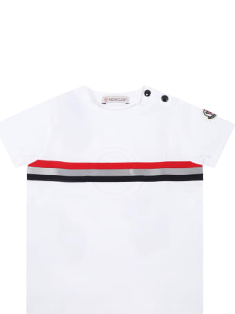 Moncler White T-shirt For Babyboy With Patch