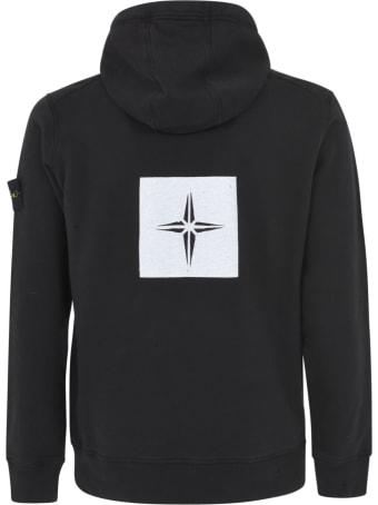 Stone Island Ribbed Painted Logo Hooded Sweatshirt