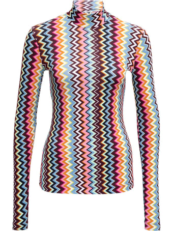 M Missoni Long-sleeved T- Shirt With Multicolor Zig Zag Print