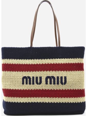 Miu Miu Shoulder Bag In Raffia And Cotton With Contrasting Embroidered Logo