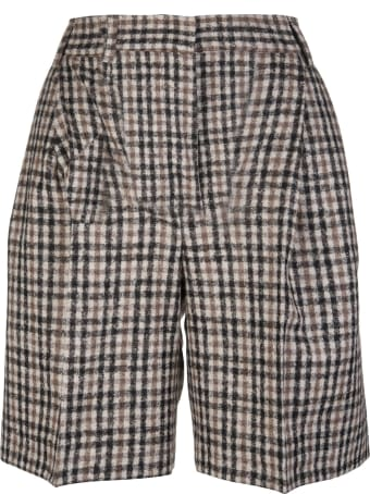 Kiton Woman Tailored Bermuda In Mixed Alpaca And Wool With Checked Pattern