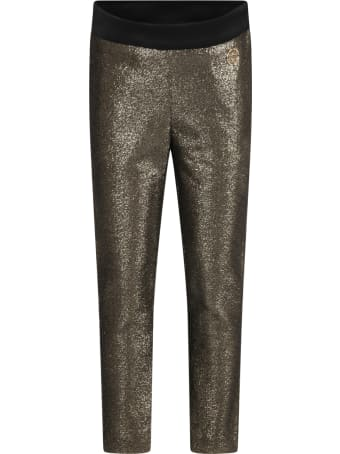 Elie Saab Gold Trouser For Girl With Logo