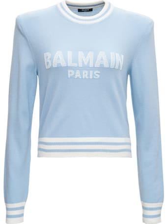 Balmain Light Blue Wool Sweater With Logo