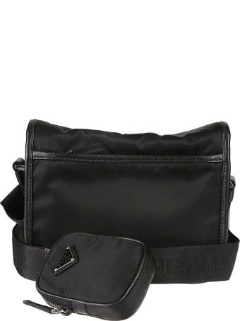 Prada Buckled Flap Logo Pouch Shoulder Bag